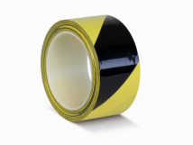 ПВХ ОПП лента для разметки и маркировки, желто-черный цвет, толщина пленки 190 мкм (0,19 мм)