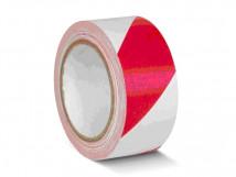 ПВХ ОПП лента для разметки и маркировки, красно-белый цвет, толщина пленки 190 мкм (0,19 мм)