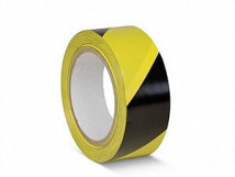 ПВХ лента для разметки и маркировки, желто-черный цвет, 150 мкм