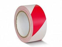 ПВХ лента для разметки и маркировки, красно-белый цвет, 150 мкм