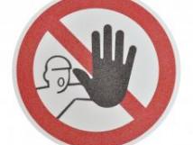 наполПротивоскользящий напольный знак, надпись «Посторонним запрещено», круг с диаметром 400 мм