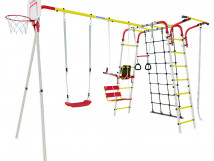 Акробат - 2  + Качели пластиковые + Сетка лаза на грунтозацепах + Качели цепные + Брусья со спинкой + Доп.ступень (с крепежом)