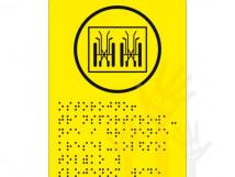 Г-16 Пиктограмма с дублированием информации по системе Брайля. Транспортирование и хранение кресел-колясок только в сложенном виде